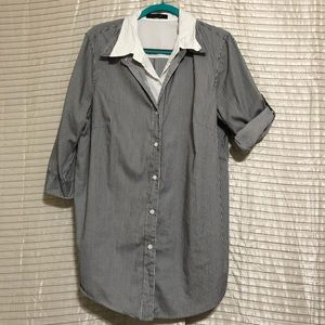 Lafayette 148 NY Pinstripe Button Down Overlay Top